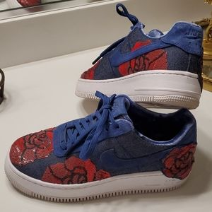 Nike Air Force 1 Floral Denim Sneakers